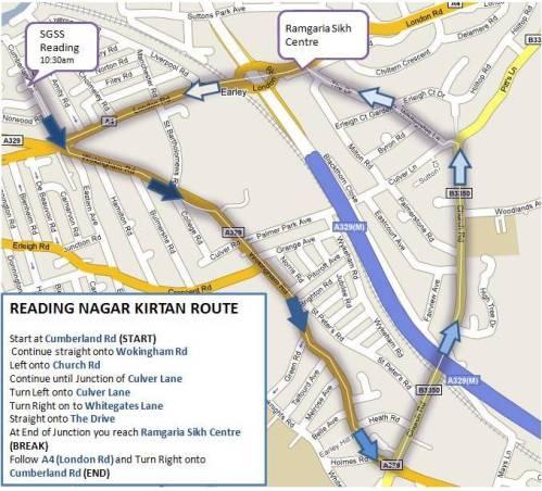 Nagar Kirtan Route