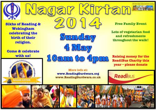 Join us for 2014 Nagar kirtan on Sunday 4th of May