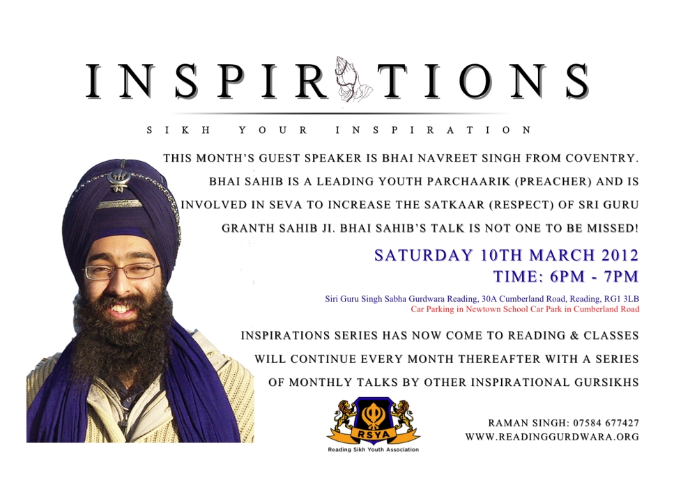 Inspirations Bhai Navreet Singh Sat 10 March @ 6pm